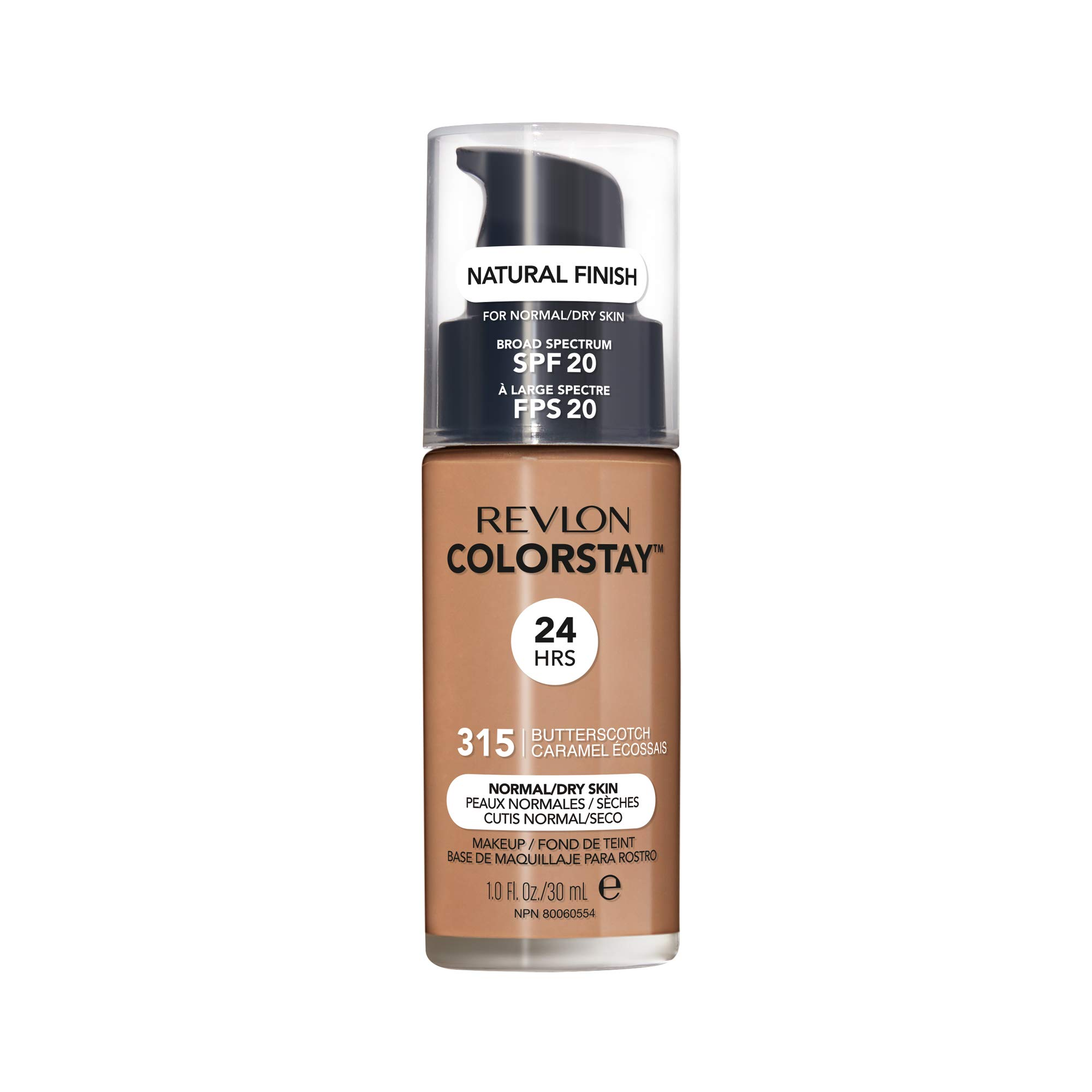 Revlon ColorStay Makeup for Normal/Dry Skin SPF 20, Longwear Liquid Foundation, with Medium-Full Coverage, Natural Finish, Oil Free, 315 Butterscotch, 1.0 oz