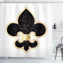 """Ambesonne Fleur De Lis Shower Curtain, Royal Lily France Empire Family Insignia Design Image, Cloth Fabric Bathroom Decor Set with Hooks, 70"""" Long, Yellow Black"""