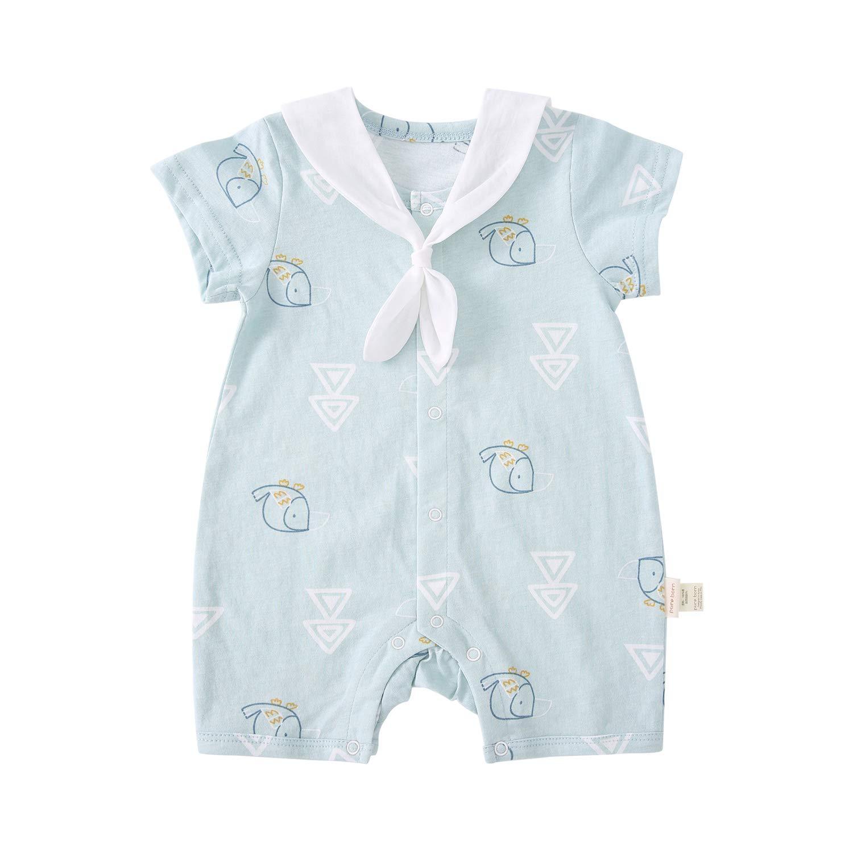 pureborn Baby Boys Girls Short Sleeve Unisex Summer Romper Outfit Cute Cotton