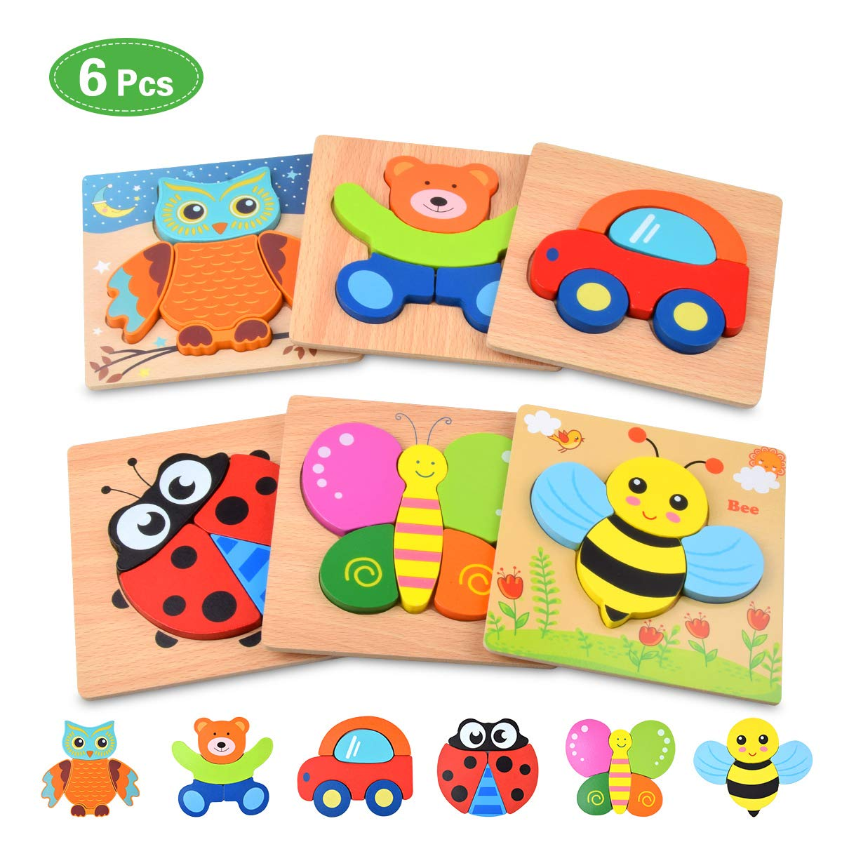 Wooden Jigsaw Puzzles for Toddlers Baby Kids 1 2 3 Years Old Color Shapes Wooden Puzzles Boys & Girls Educational Learning Toys Gift 3D Animals Vehicle Puzzles (6 Pack)
