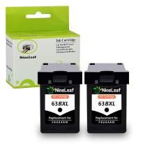 NineLeaf New Generation Remanufactured Ink Cartridges High Yield Compatible for HP 63XL 63 XL Envy 4512 4520 DeskJet 3632 2130 1110 1111 1112 2132 3630 3634 3637 OfficeJet 5255 5258 (Black,2 Pack)