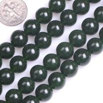 GEM-Inside Natural 10mm Green Taiwan Jade Gemstone Loose Beads Round Crystal Energy Stone Power for Jewelry Making 15""