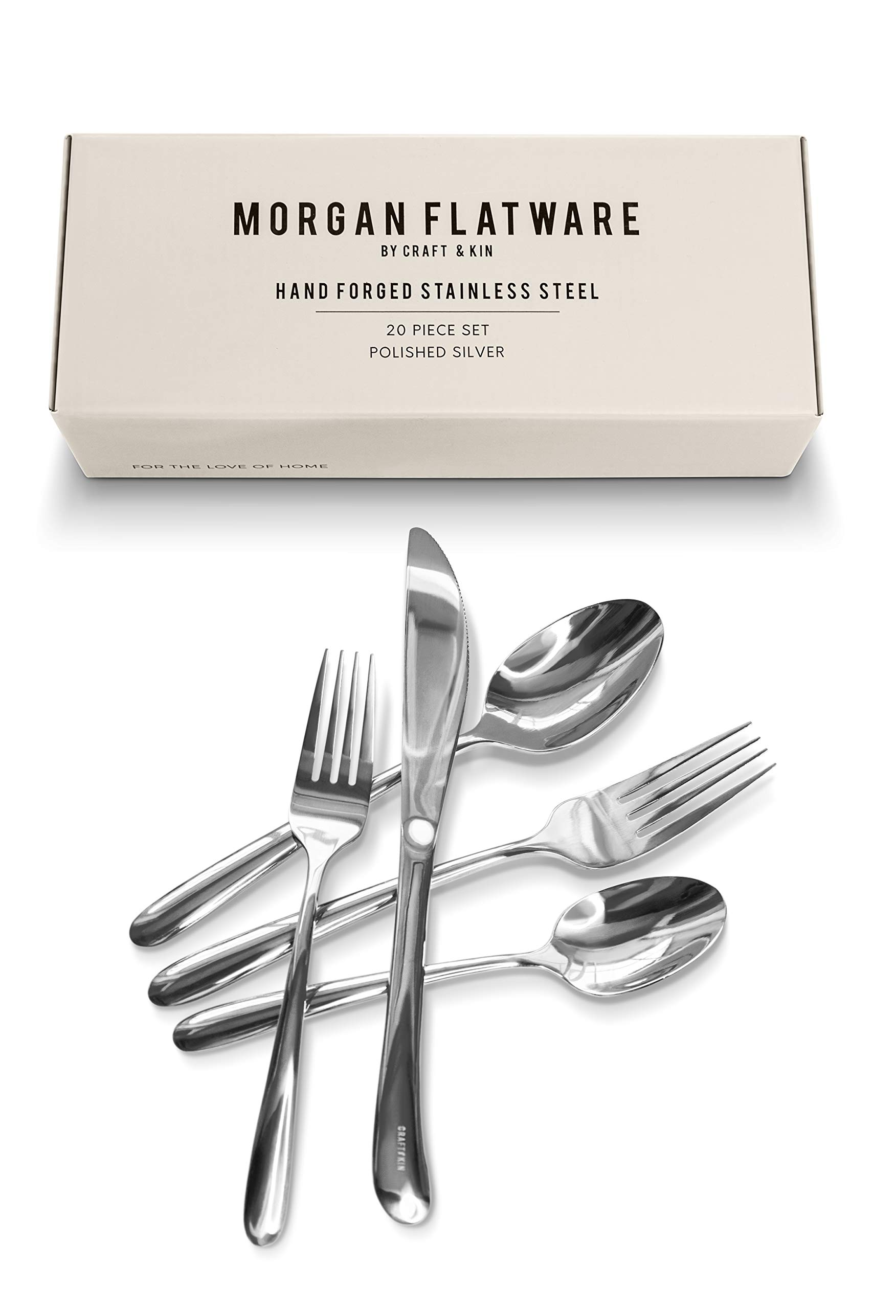 Craft & Kin Silverware Set, Hand-Forged Classic Heirloom Luxury Silver Flatware Set | Premium Quality Pure Stainless Steel Cutlery Set | High Mirror Polished Dinnerware Set (20-pc, Set for 4)