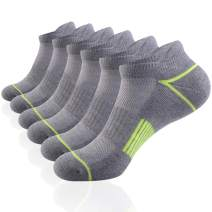 JOYNÉE Mens Athletic Low Cut Ankle Tab Socks 6 Pack Cushioned Breathable for Running