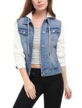 Allegra K Women's Layered Drawstring Hood Denim Jacket w Pockets