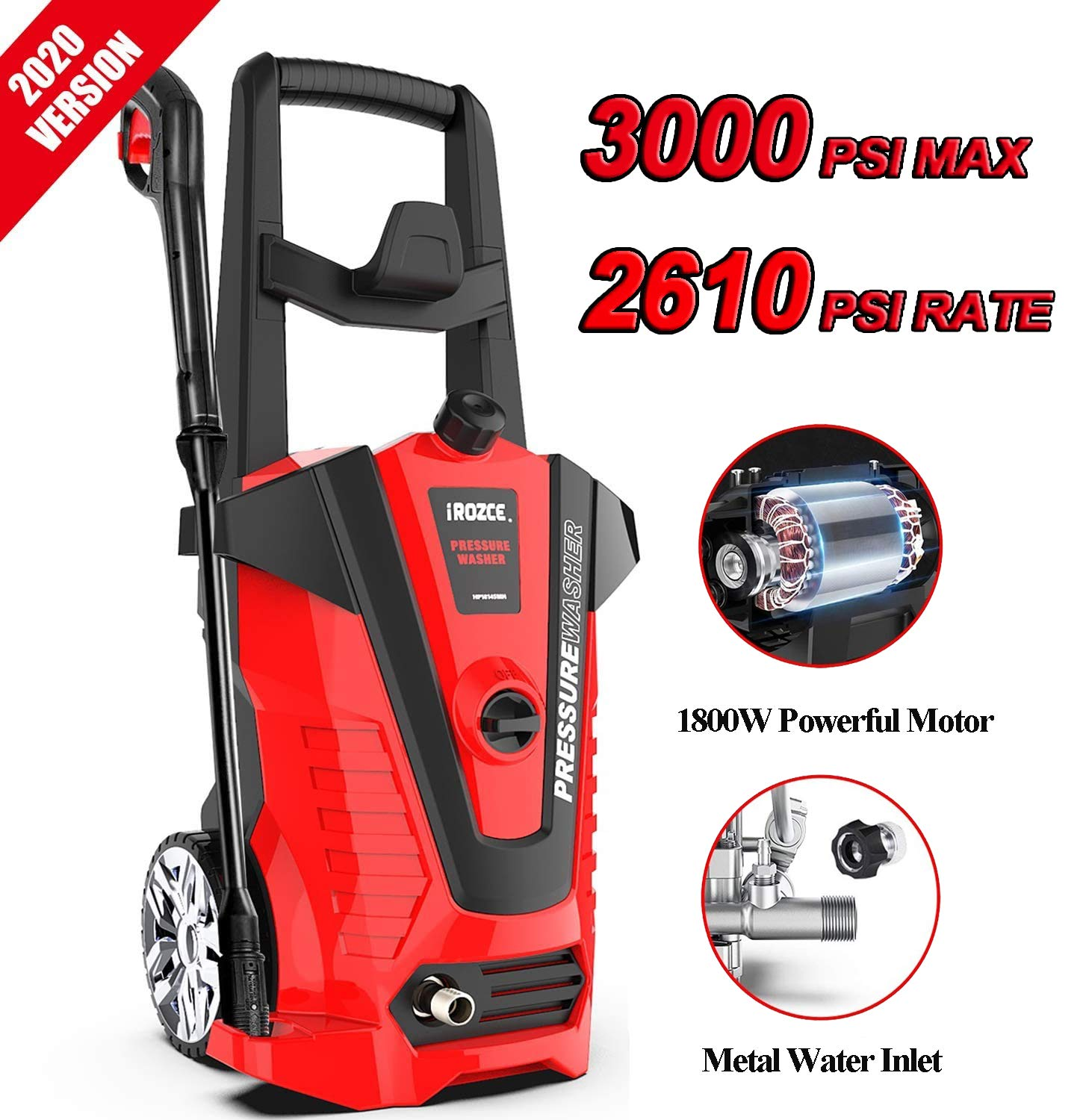 iRozce Pressure Washers 2610PSI 1.85GPM Electric Power Washer with Metal Adapter, Adjustable Nozzle, Build-in Detergent Tank for Driveway, Deck, Patio Furniture, Cars Washing, Red