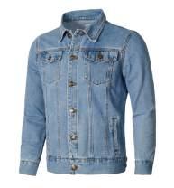 Homovater Men's Classic Denim Jacket Button Front Trucker Jean Jackets