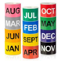 "12 Months of The Year Labels Color Coding Dot Round Self Adhesive Stickers (3"" x 2"" Stickers) - 300 Stickers per Month - 3600 Stickers Total"