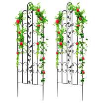 """Amagabeli 2 Pack Large Garden Trellis for Climbing Plants 71"""" x 21"""" Heavy Duty Rustproof Black Iron Plant Trellis for Potted Plant Support Tall Wall Metal Trellis for Rose Vine Vegetable Cucumber GT01"""