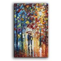 YaSheng Art Landscape Oil Painting on Canvas Lover Rain Street Tree Lamp Texture Palette knife Abstract Landscape Art Paintings Canvas Wall Art Modern House living room Office Decor Abstract Artwork