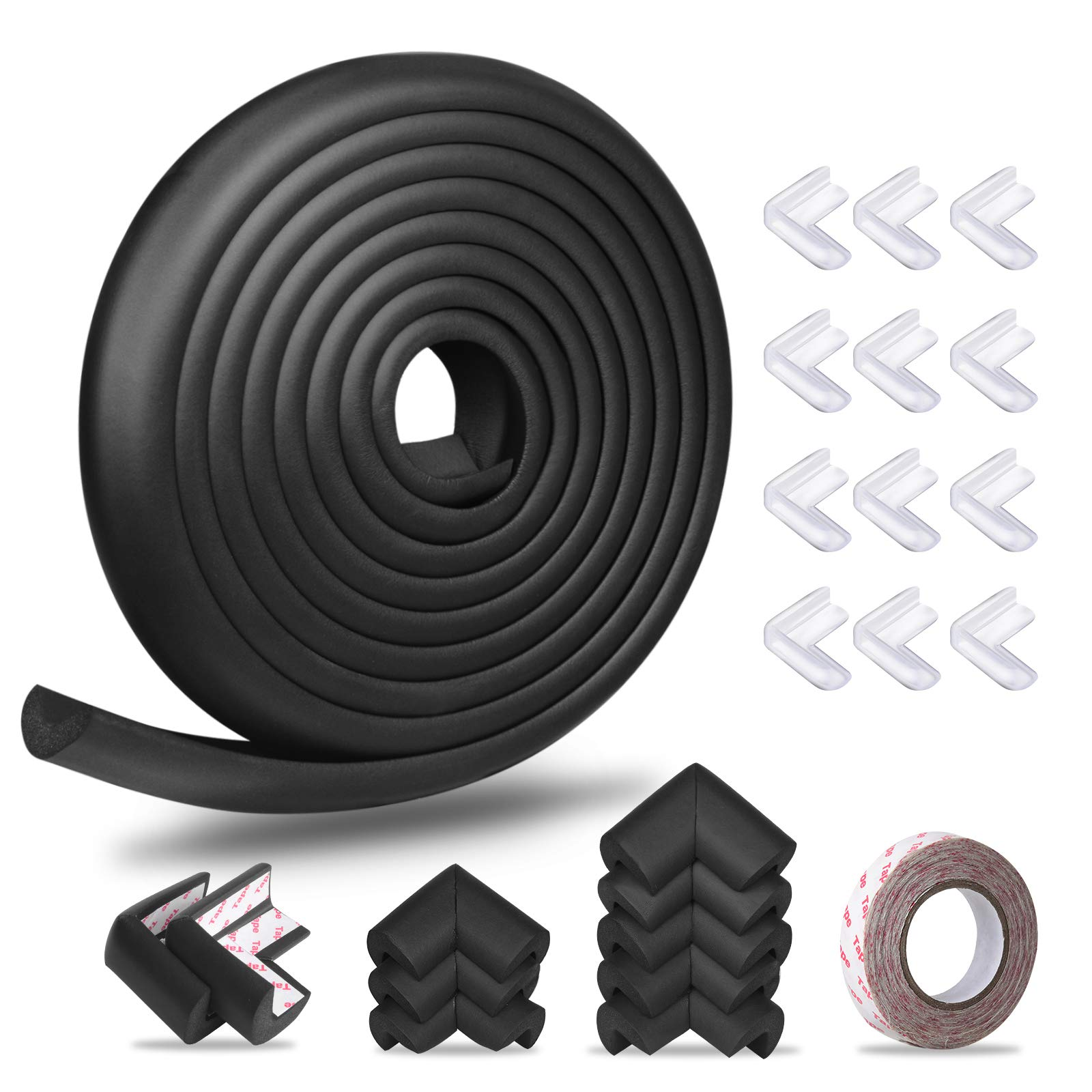 Baby Proofing Corner Guards Edge Protectors, Momcozy Child Safety Foam Fireplace Table Bumper, Furniture Edge Guards, 16.5 ft Edge + 20 Corners, Pre-Taped Baby Safety Cushion, High Elasticity(Black)