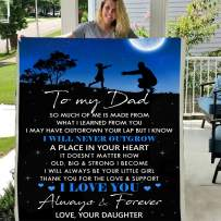 Personalized Custom to My DAD Love Your Daughter Moon 3D Custom Fleece Photo Blanket Birthday Gift Father's Day (Custom 56 X 43 INCH)
