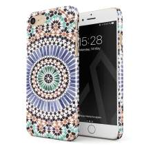 BURGA Phone Case Compatible with iPhone 7/8 / SE 2020 - Pastel Illusion Moroccan Marrakesh Tile Pattern Colorful Mosaic Cute Case for Women Thin Design Durable Hard Plastic Protective Case