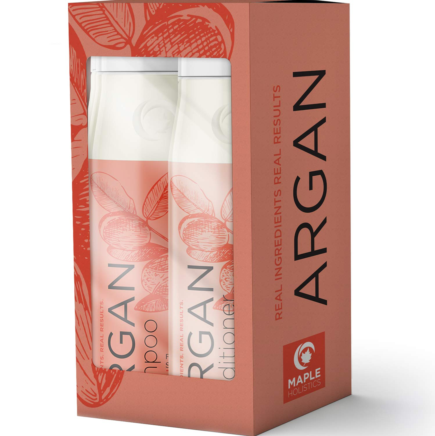 Argan Oil Shampoo And Conditioner Gift Set For Dry Damaged Hair - Natural Hair Care For Healthy Hair Growth And Silky Smooth Hair - With Hibiscus Avocado Peach Kernel Almond And Jojoba Oil - USA Made