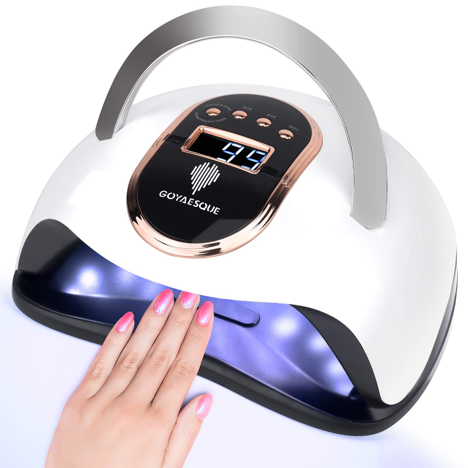 120W UV Led Nail Lamp Faster Gel Nail Dryer LED Nail Light GOYAESQUE Professional Gel Polish UV Curing Lamp with 4 Timmer Setting Protable Handle Large Space LCD Screen Automatic Sensor