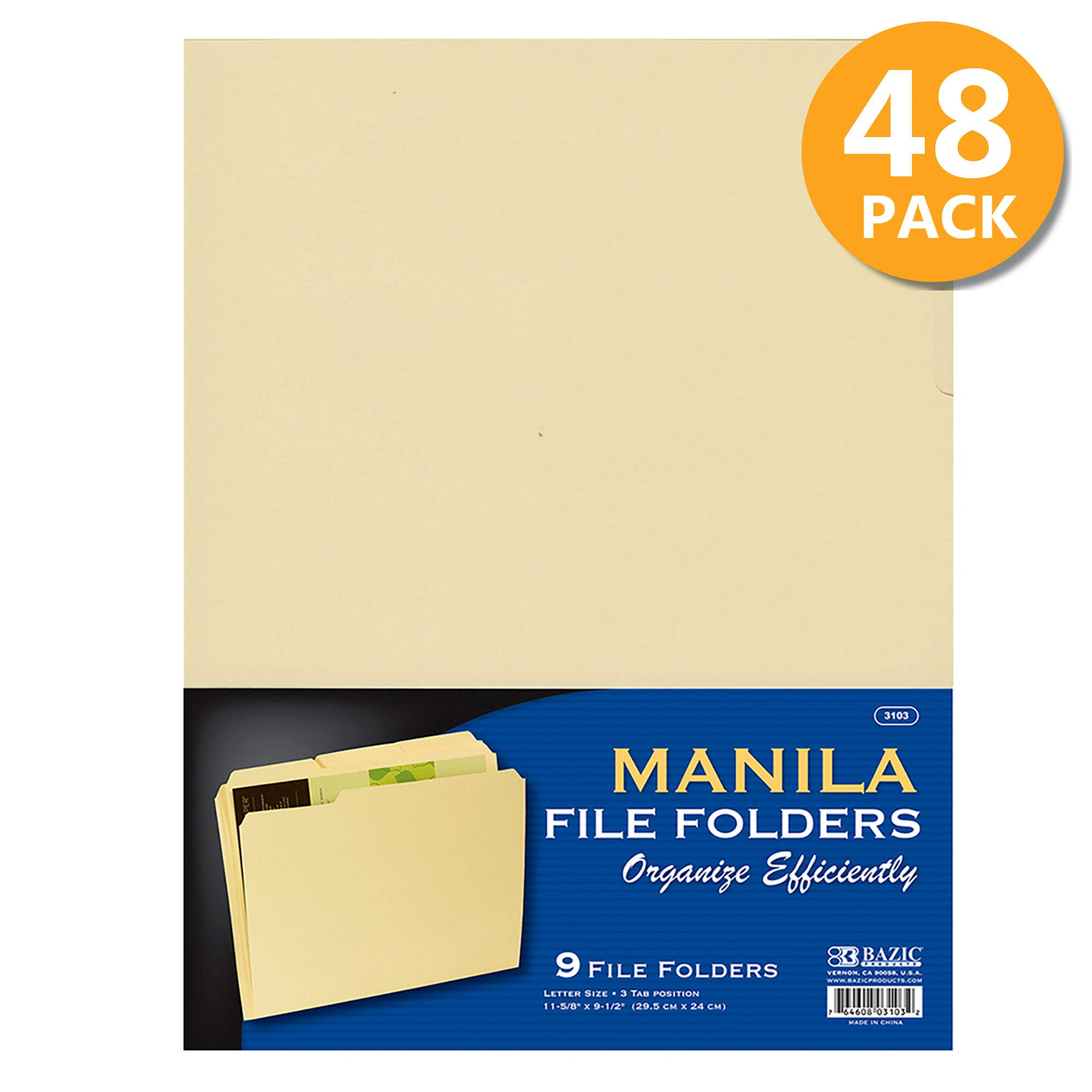 BAZIC 1/3 Cut Letter Size Manila File Folder, Classic Manila Tabs Left Right Center Positions, Great for Organizing Easy Files Document Storage, Office Home Teacher Business (9/Pack), 48-Pack