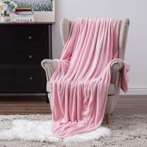 MIULEE Super Soft Flannel Fleece Blanket Luxurious Pink Microfiber Blanket Bring You Extra Warmth and Comfort More Fluffy and Breathable for Napping Sleeping (60x80inch,Twin Size)