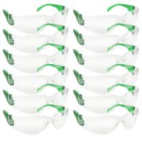 SAFE HANDLER Clear Lens Color Temple Safety Glasses | One Size, Adult, Youth, Clear Protective Polycarbonate Lens Color Temple, GREEN, 12 per Pack (1 pack)