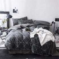 VCLIFE Cotton Bedding Duvet Cover Twin Bedding Sets, Soft Geometric Gray Black Pattern Print, Lightweight - Zipper Closure, 4 Corner Tie