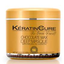 Keratin Cure Chocolate Max Deep Hair Mask Masque Moisturizing Reparation Shea Butter Argan Oil Strengthen Boosts Growth Smooths Frizz Scalp Treatment for all types (32 Ounce)
