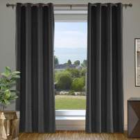 cololeaf Linen Curtains 108 Inches Room Darkening Thermal Insulated Extra Long 108 Textured Linen Burlap Curtain, Grommet Primitive Linen Curtain Drapes, Black 100W x 108L Inch (1 Panel)