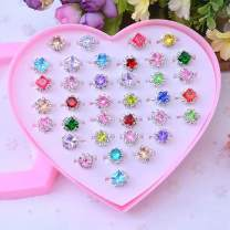 36pcs Colorful Rhinestone Gem Rings in Box, Fineder Adjustable Little Girl Jewel Rings in Box Children Kids Little Girl Gift, Girl Pretend Play and Dress up Rings, Christmas gift