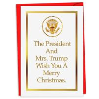 12 Boxed 'President and Mrs. Trump' Merry Christmas Cards with Envelopes 4.63 x 6.75 inch, Patriotic Presidential Holiday Notes, White House Invite Christmas Cards C4281XSG-B12