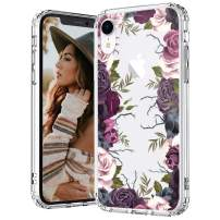MOSNOVO iPhone XR Case, Black Purple Floral Flower Garden Pattern Printed Clear Design Transparent Plastic Hard Back Case with TPU Bumper Protective Case Cover for iPhone XR