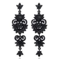 mecresh Vintage Floral Teardrop Butterfly Wing Black Austrian Crystal Drop Dangle Earrings for Women Bride Gift