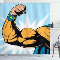 """Ambesonne Comics Shower Curtain, Superhero Arm Flexing Muscles Powerful Fiction Character Cartoon Graphic Style, Cloth Fabric Bathroom Decor Set with Hooks, 75"""" Long, Marigold Blue"""
