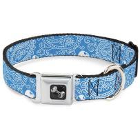 Buckle-Down Seatbelt Buckle Dog Collar - Bandana/Skulls Baby Blue/White