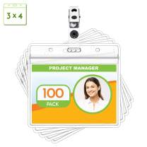 """Claev Metal Badge Clips with 3x4 Waterproof PVC Plastic ID Name Card Holders and Vinyl Straps (Clear, 100 Pack) - Fits 5/8"""" Slot, Secure Snaps"""