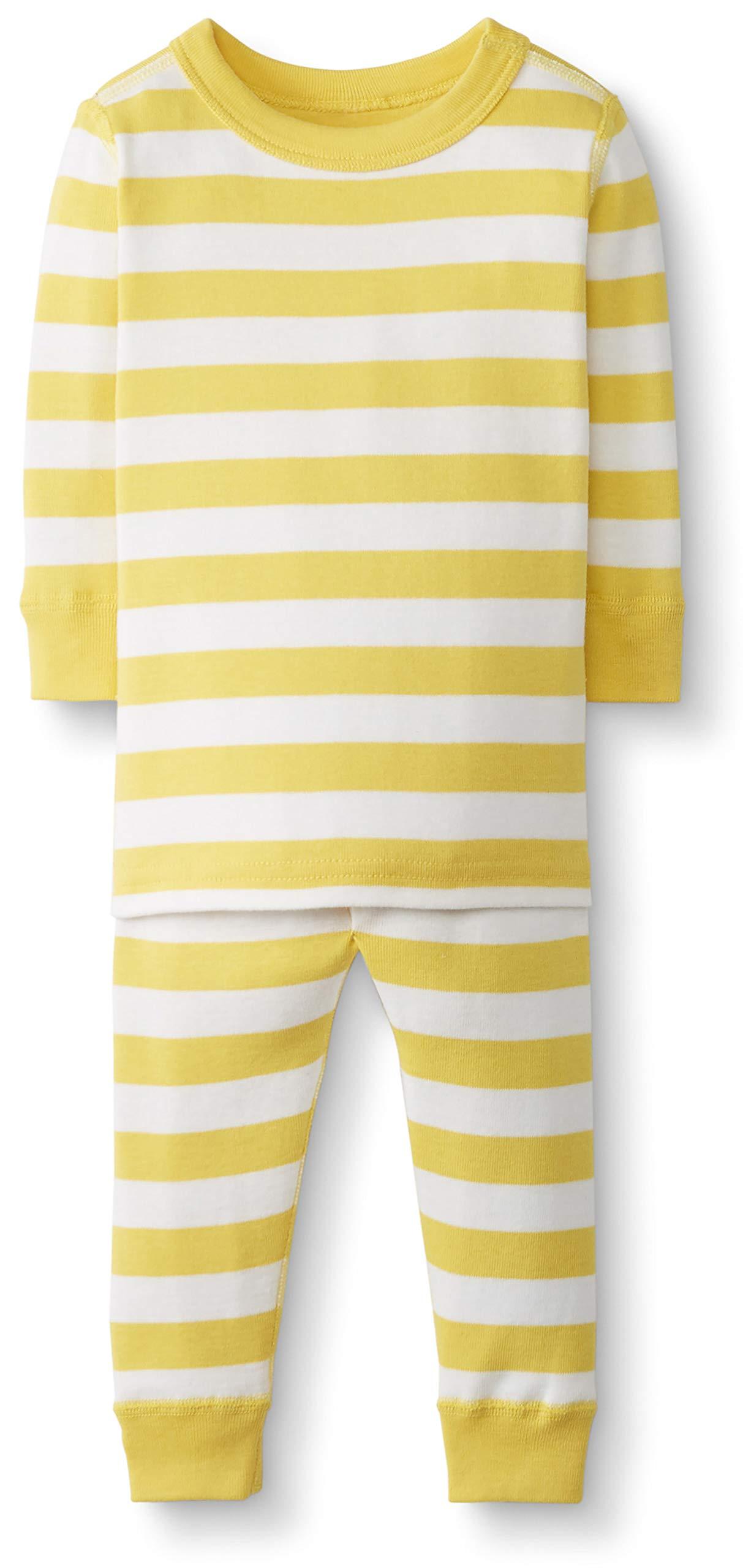 Hanna Andersson Baby/Toddler 2-Piece Organic Cotton Pajama Set Swedish Yellow/Hanna White -80