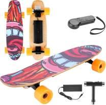 KGK Skateboard Electric Skateboard 3 Speed 7 Layers Maple Standard Skateboard Graffiti with Wireless Remote Control Complete Standard Skateboard for Teens, Kids, Beginners Max Load 80kg