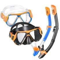 OMORC Snorkel Set, Anti-Fog Tempered Glass Snorkel Sets,Free Breathing Anti-Leak Snorkeling Package Set, Snorkel Gear for Adult, Youth,Kids, Snorkel Kit Bag Included