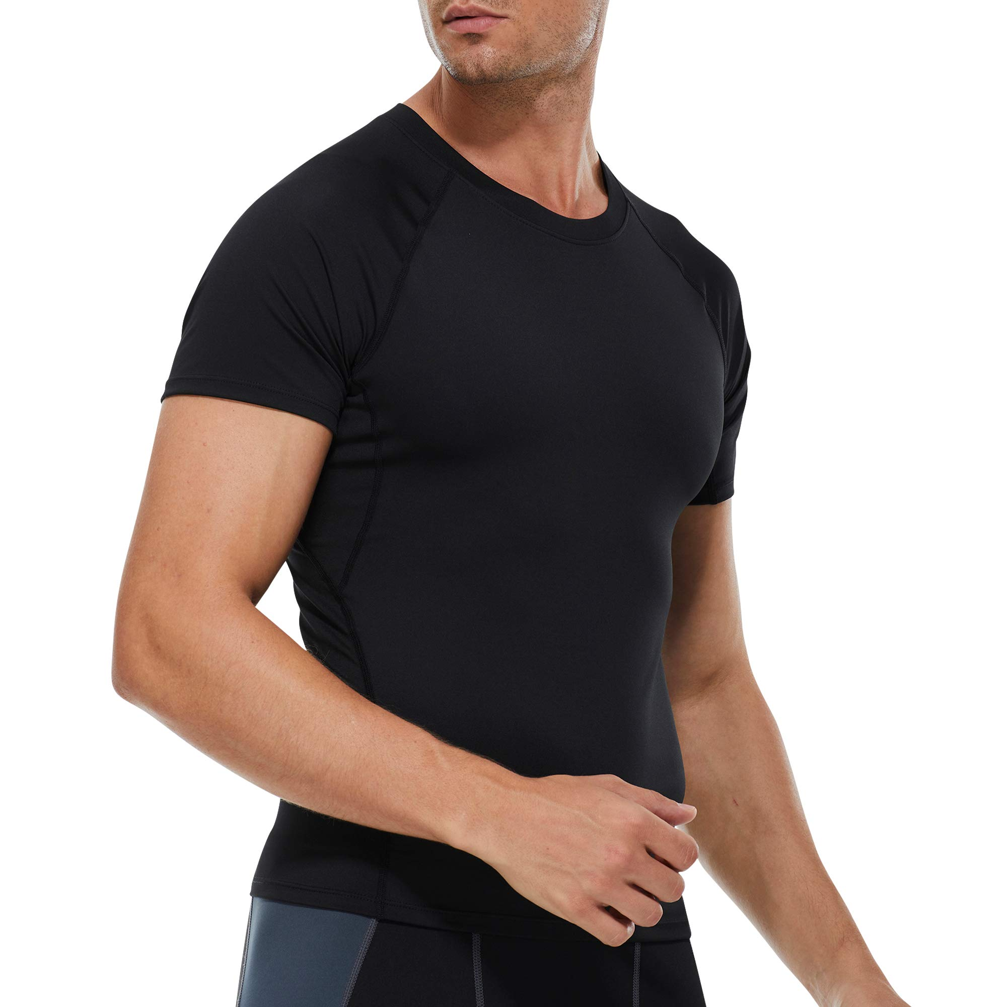 UOUA Men's Quick Dry Compression Shirt Short Sleeve Sports Tops Moisture Wicking Lightweight Cool Base Layer T-Shirt