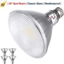Explux Classic Full Glass PAR38 LED Spot Light Bulbs, Dimmable, Indoor/Outdoor, 90W Equivalent, 2700K Soft White, 4-Pack