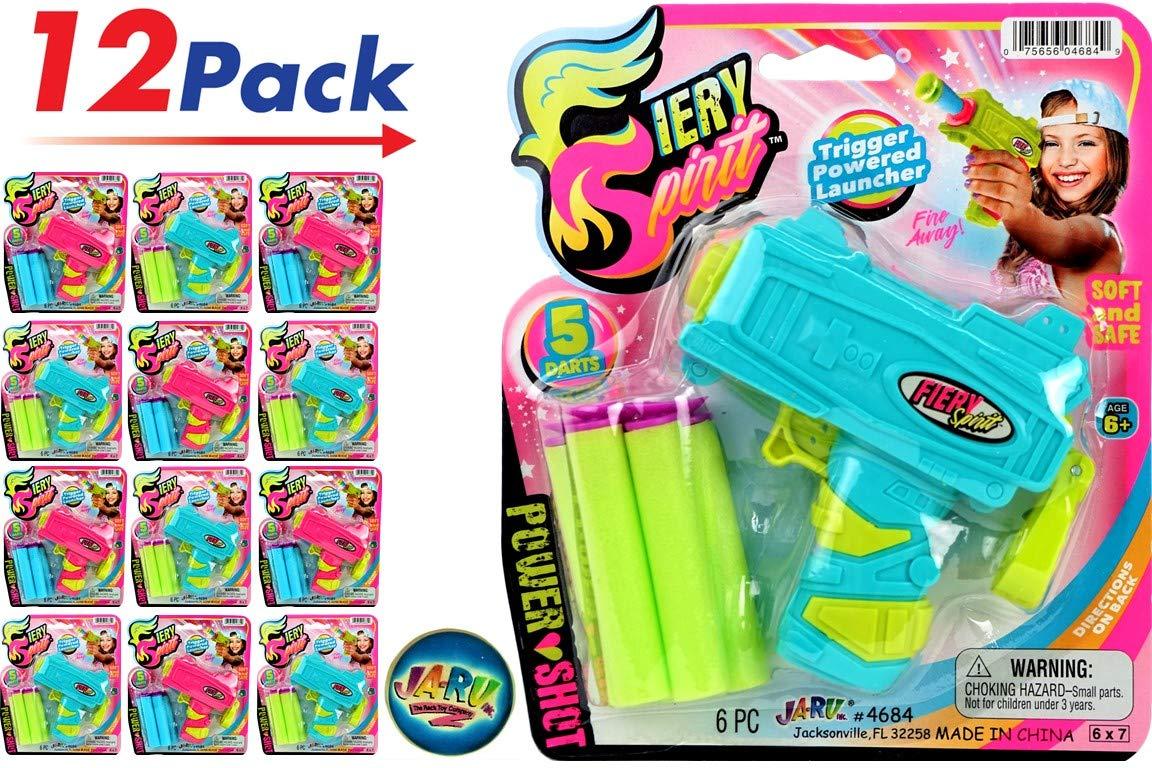 JA-RU Girl Ultra Foam Dart Gun (Pack of 12) Fiery Spirit Power Shot Super Powerful Shotgun Blaster Shot Handgun. Plus 1 Collectable Bouncy Ball | Item #4684-12p