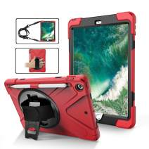 TSQ iPad 5th/6th Generation Cases with Stand, Heavy Duty Shockproof Durable Silicon Rubber Case with Pen Holder/Handle Hand Strap/Kickstand/Shoulder Strap for iPad 9.7 5th/6th Generation Tablet,Red