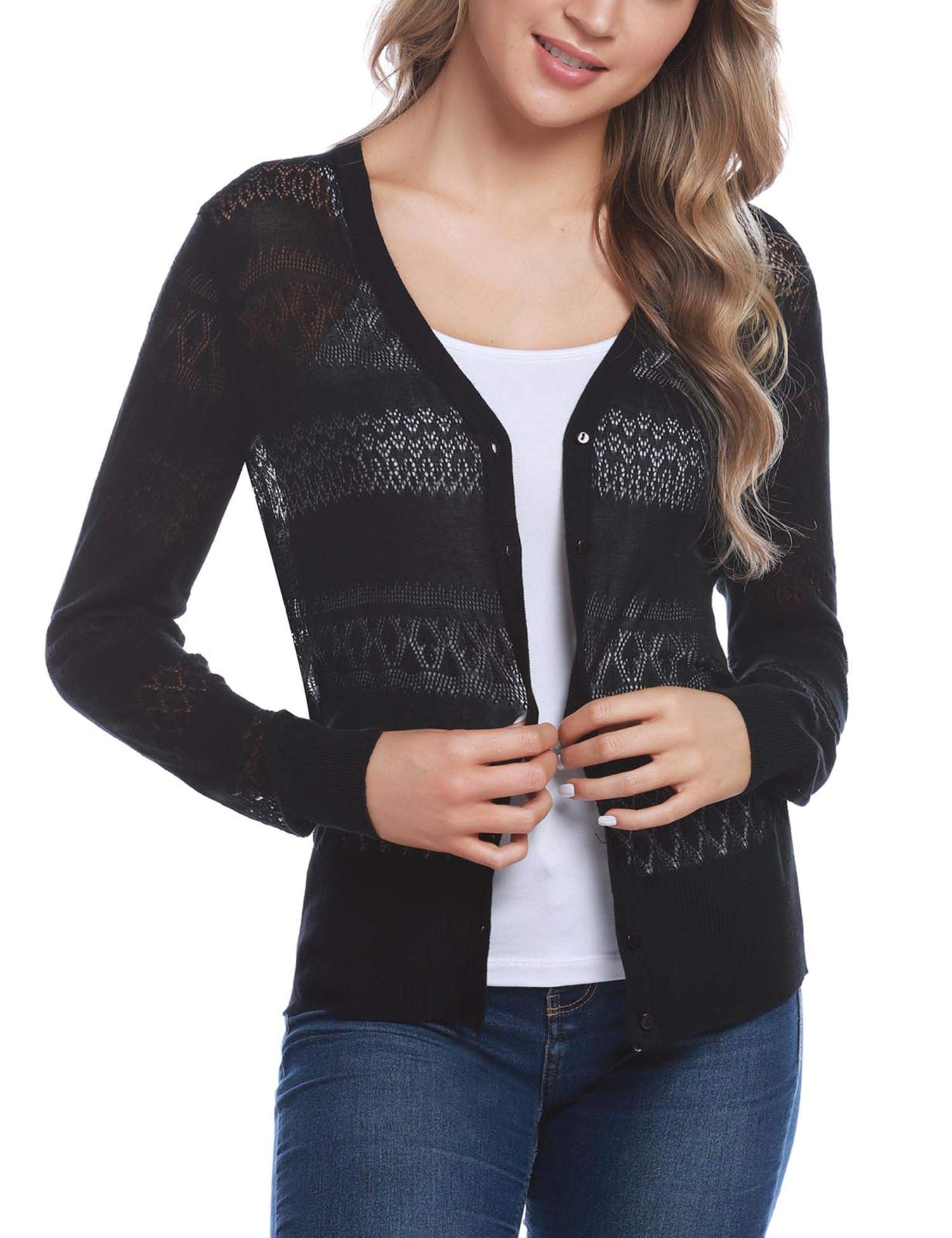 iClosam Women Knitted Long Sleeve Crochet Button Down Cardigan Sweater