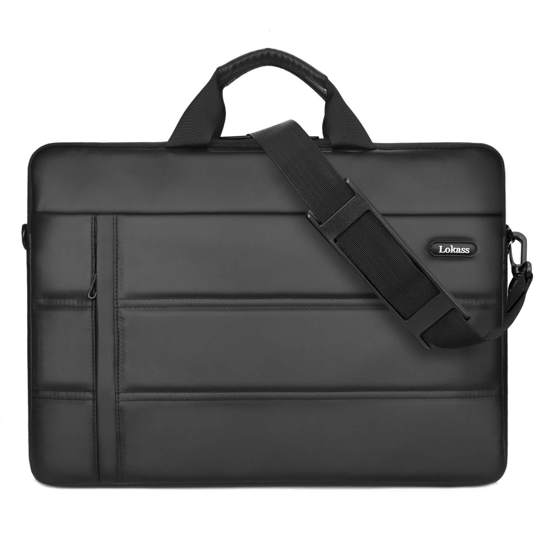 LOKASS Laptop Bag 15.6 Inch Shoulder Messenger Bag Water-resistant Business Briefcase Handbag Slim Light Computer Bag with Strap for Men Women Fits 13.3-15.6 Inch Laptop/Notebook,Black