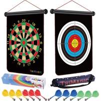 TriMagic Magnetic Dart Board - Best Birthday Toy Gift for 6 7 8 9 10 12 Year Old Boys, Cool Outdoor Games for Kids 8-12, Include 12 Magnetic Darts & Portable Bag