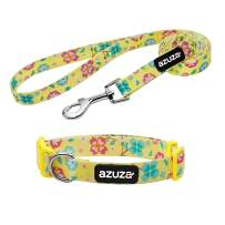 azuza Dog Collar and Leash Set, Floral Patterns Adjustable Nylon Collar with Matching Leash for Small Medium and Large Dogs