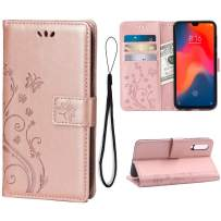 Wallet Case for Xiaomi Mi 9 Card Holder Embossed Butterfly Flower PU Leather Magnetic Flip Cover for Xiaomi Mi 9 (Rose Gold)