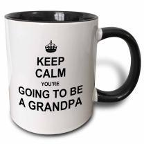 3dRose Keep Calm You're Going To Be A Grandpa-Future Grandfather Text Gift Mug, 11 oz, Black