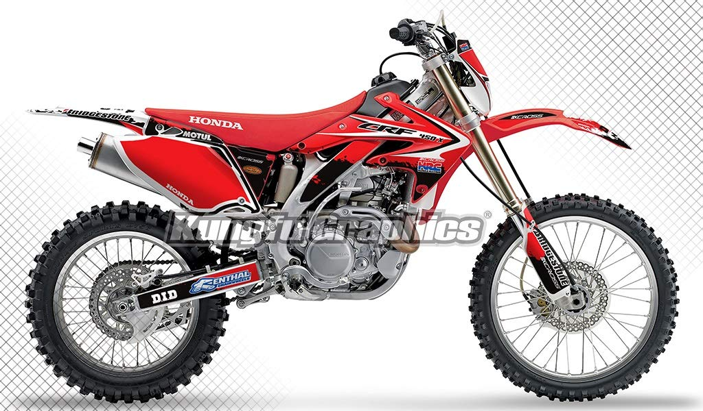 Kungfu Graphics Custom Decal Kit for Honda CRF450X 2005 2006 2007, Red, Style 004