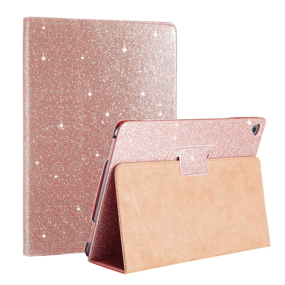iPad Mini 1 2 3 Case FANSONG Bifold Series Glittery Sparkly Ultra Thin Magnetic PU Leather Smart Cover [Flip Stand,Sleep Function] for Apple iPad Mini 2/3, Rose Gold