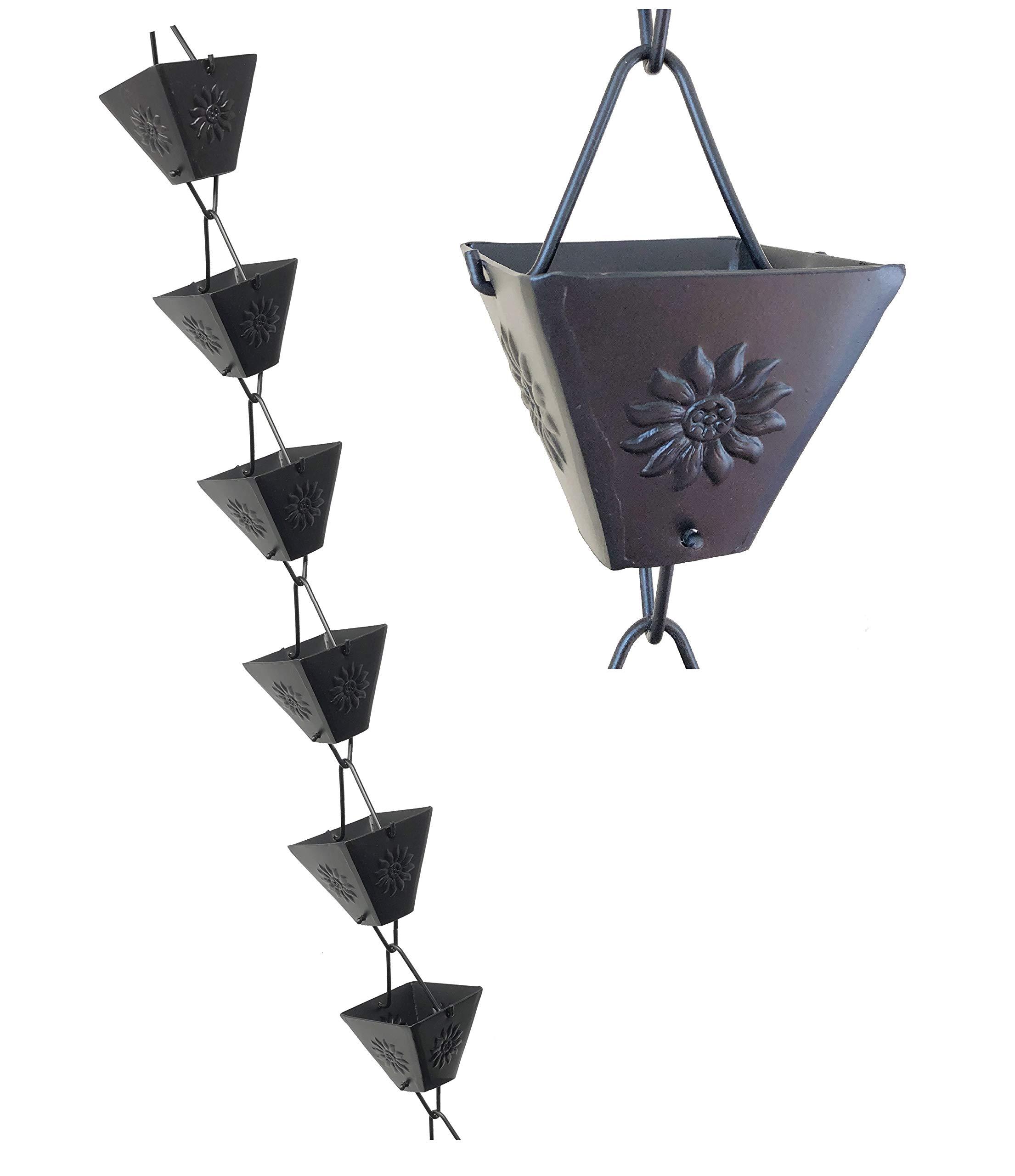 U-nitt 8-1/2 feet Rain Chain: XL Square Cup Sunflower Emboss Aluminum Black 8.5 ft Length #5515BLK