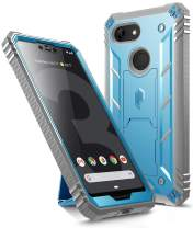 Google Pixel 3 XL Kickstand Rugged Case, Poetic Revolution [360 Degree Protection] Full-Body Rugged Heavy Duty Case with [Built-in-Screen Protector] for Google Pixel 3 XL Blue