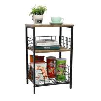 End Table,Industrial Retro Side Table Nightstand Storage Shelf for Living Room Bedroom Kitchen Family and Office,Stable Wood and Metal Frame(Rustic Brown&Black)